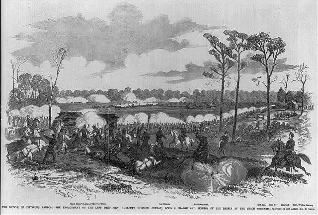 The Battle of Pittsburg Landing [Shiloh, Tenn., April 1862]: ...The left wing, Gen. Hurlbut's Div., Apr. 6th; Charge & repulse of rebels at Peach Orchard