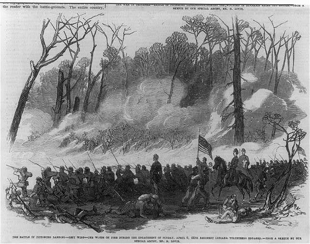 The Battle of Pittsburg Landing [Shiloh, Tenn., April 1862]: The woods on fire...Sunday, Apr. 6; 44th Regt, Indian Volunteers engaged