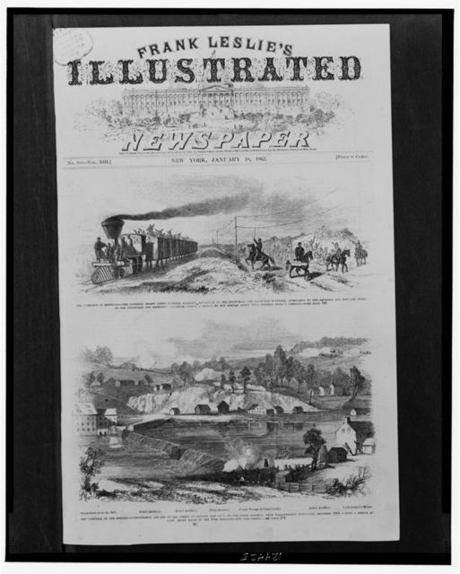 The campaign in Kentucky--The national troops under General Johnston advancing on the Louisville and Nashville Turnpike, overtaken by the equipage and baggage train on the Louisville and Nashville Railroad / from a sketch by our special artist with General Buell's command.  The campaign on the Potomac--Unsuccessful attempt of the Rebels to destroy dam no. 5, on the upper Potomac, near Williamsport, Maryland, December 1861 / from a sketch by Capt. Henry Bacon of the 13th Massachusetts volunteers.