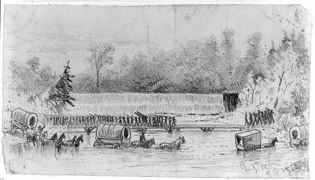 The crossing of the North Fork of the Rappahannock River, near Waterloo, by Gen. Bank's Corps