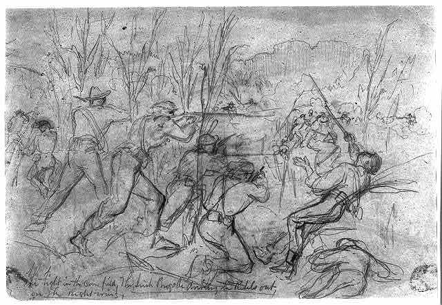 The fight in the cornfield; The Irish Brigade driving the rebels out, on the right wing