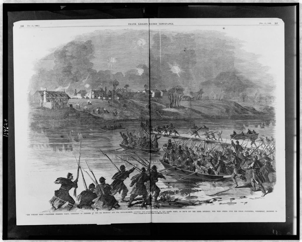 """""""The forlorn hope"""" - volunteer storming party, consisting of portions of the 7th Michigan and 19th Massachusetts, crossing the Rappahannock in advance of the Grand Army, to drive off the Rebel riflemen, who were firing upon the Union pontoniers, Wednesday, December 10 / from a sketch by our special artist, Henri Lovie."""