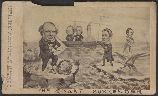 The great surrender America surrenders the great commissioners - England surrenders her great pretensions - Jeff. Davis surrenders his great expectations.