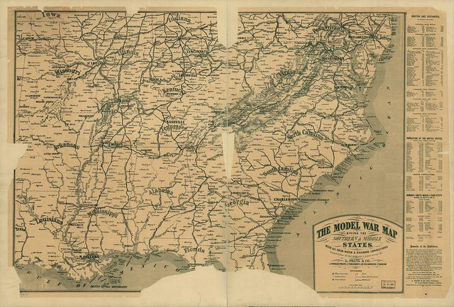The model war map giving the southern & middle states, with all their water & railroad connections. Compiled from the best authorities & latest surveys by L. Prang & Co., lithographers & publishers.