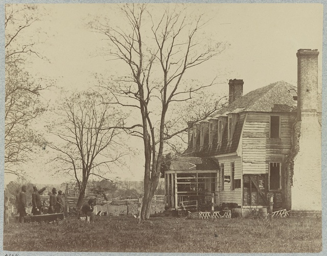 The Moore House, near Yorktown, Va., showing effect of fire from Confederate batteries