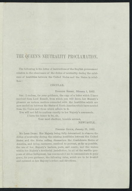The Queen's Neutrality Proclamation.