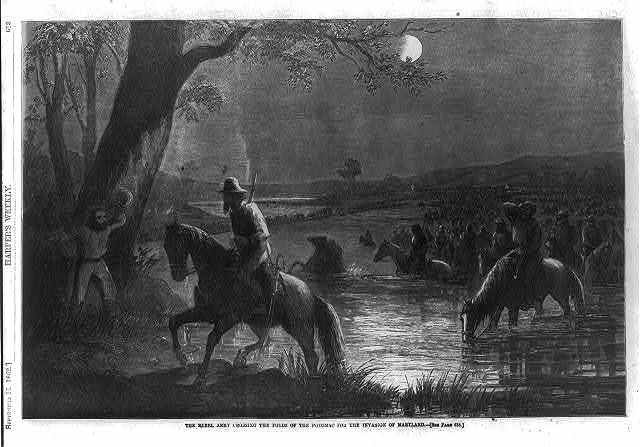 The Rebel army crossing the fords of the Potomac for the invasion of Maryland