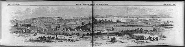 The Rebel forces under General Jackson advancing upon the Rappahannock Station at the river - National batteries replying to the Rebel artillery, August 23, being the commencement of the battles between Gens. Pope and Lee and Jackson, ending at Bull Run, August 30 / sketch by -- Edwin Forbes.
