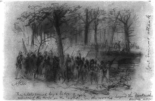 The rebels covered by a ledge of rock repulsing the troops on the right- in the woods beyond the Duncker ch. [sic] Antietam
