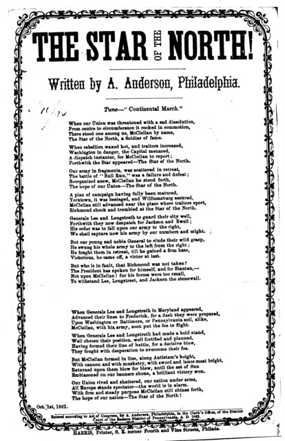 The star of the North! Written by A. Anderson. Tune: Continental march. Harris, Printer, ... Phila