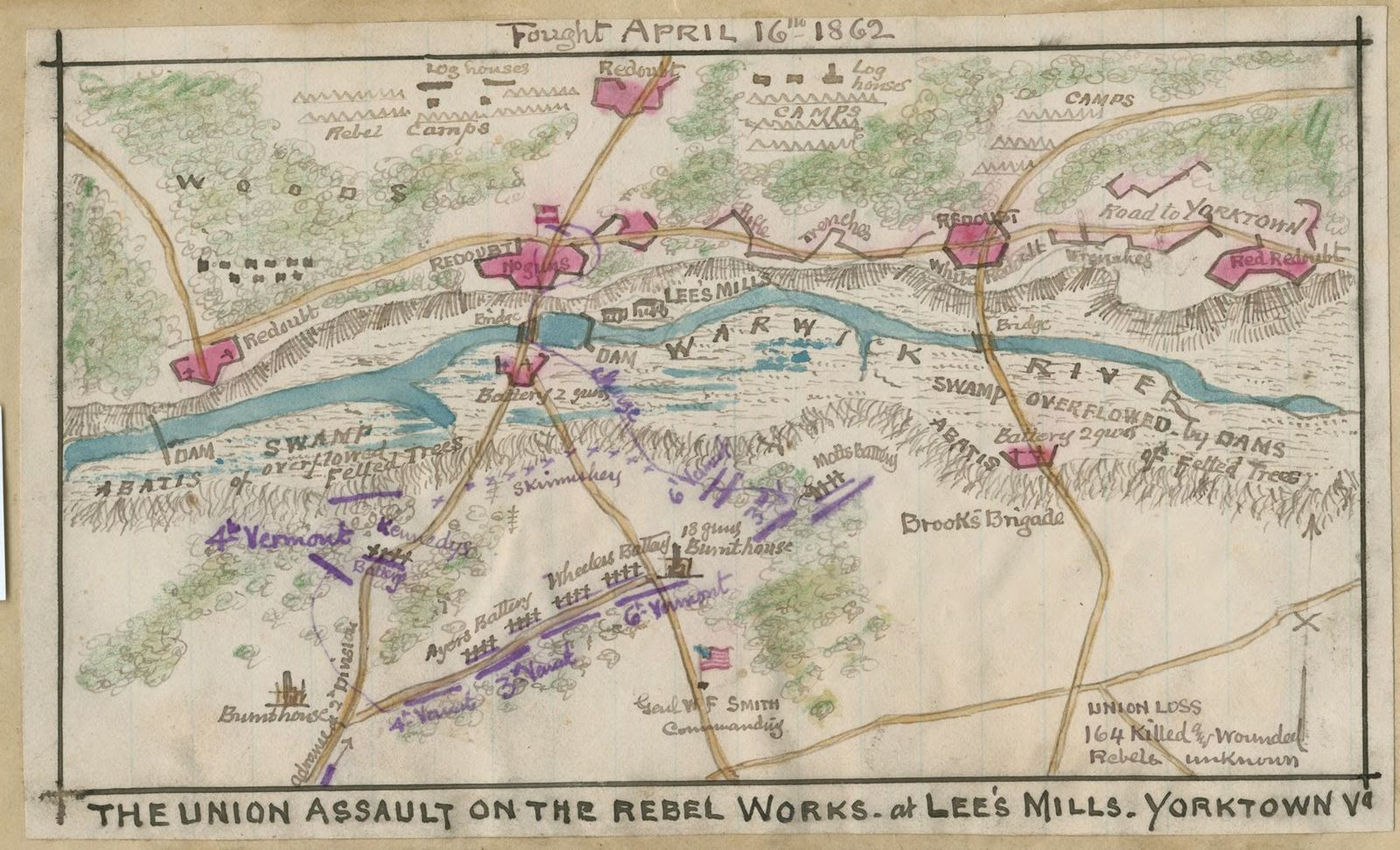 The Union assault on the Rebel works at Lee's Mill, Yorktown, Va.