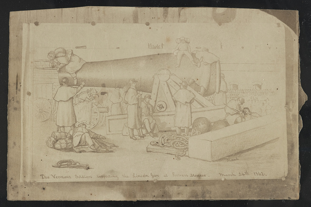 The Vermont soldiers inspecting the Lincoln Gun at Fortress Monroe / Mead.