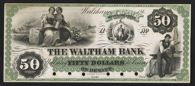 [The Waltham Bank fifty dollar private bank note proof]