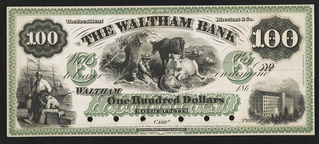 [The Waltham Bank one hundred dollar private bank note proof]