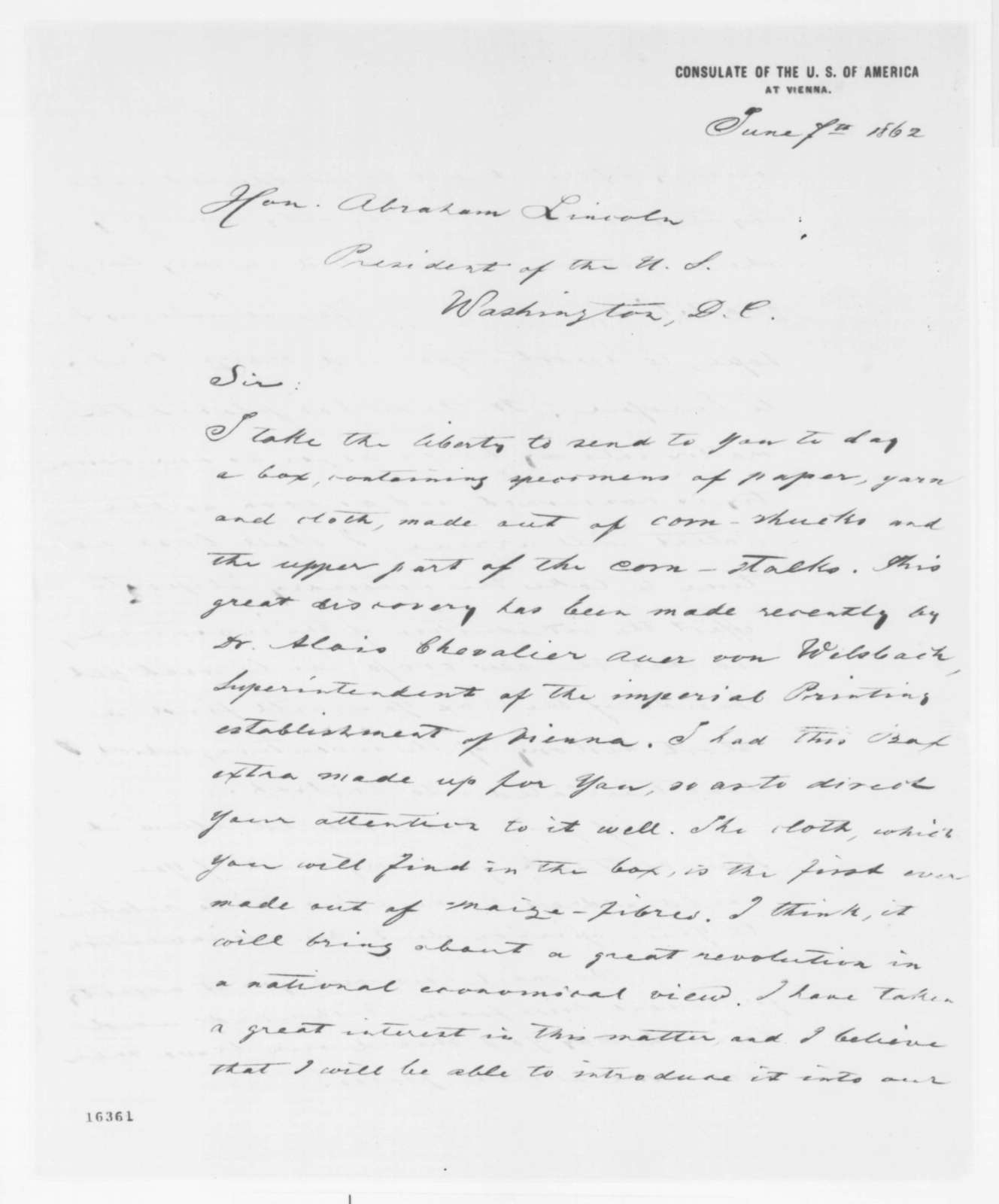 Theodore Canisius to Abraham Lincoln, Saturday, June 07, 1862  (Sends products made from corn)