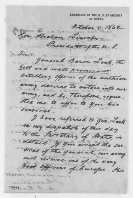 Theodore Canisius to Abraham Lincoln, Saturday, October 04, 1862  (Austrian general wishes to serve in Union Army)