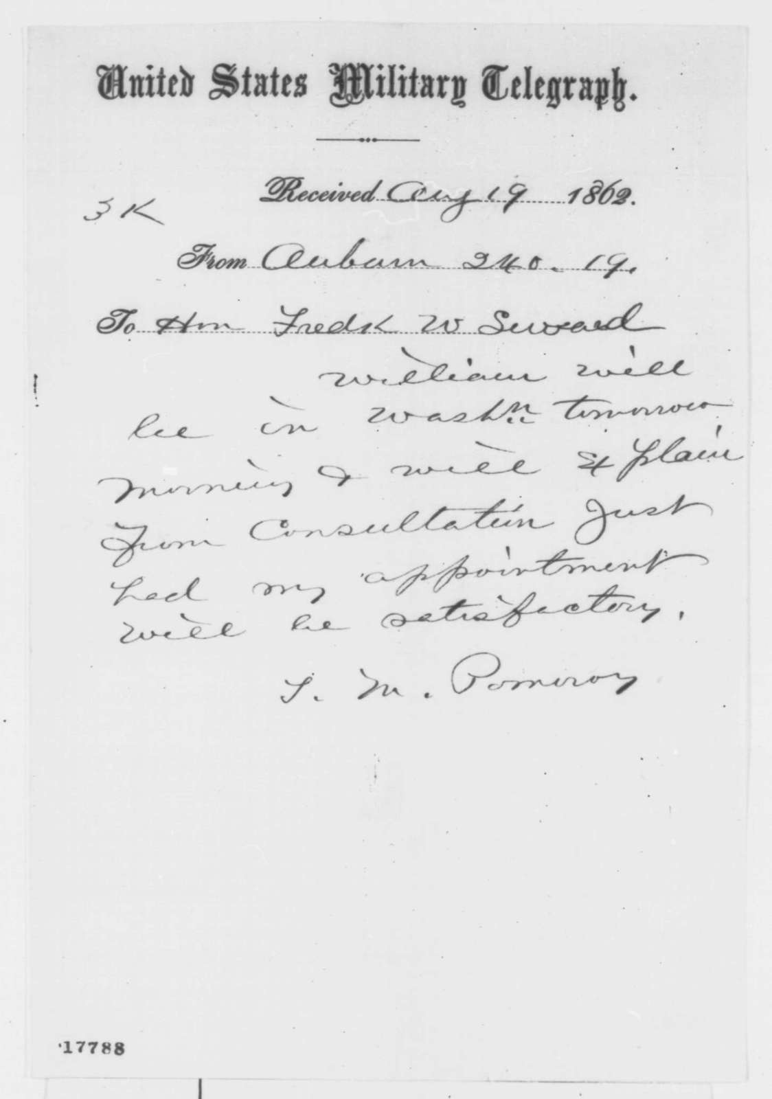 Theodore M. Pomeroy to Frederick W. Seward, Tuesday, August 19, 1862  (Telegram concerning appointment)