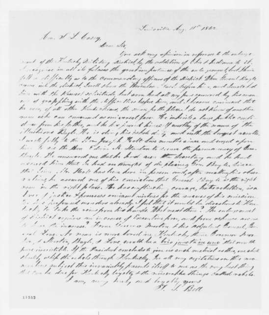 Theodore S. Bell to Samuel L. Casey, Monday, August 11, 1862  (Affairs in Kentucky)