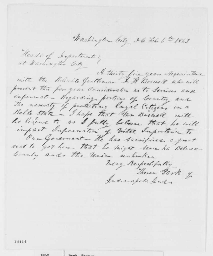 Theron Park to Heads of Departments, Thursday, February 06, 1862  (Circular)