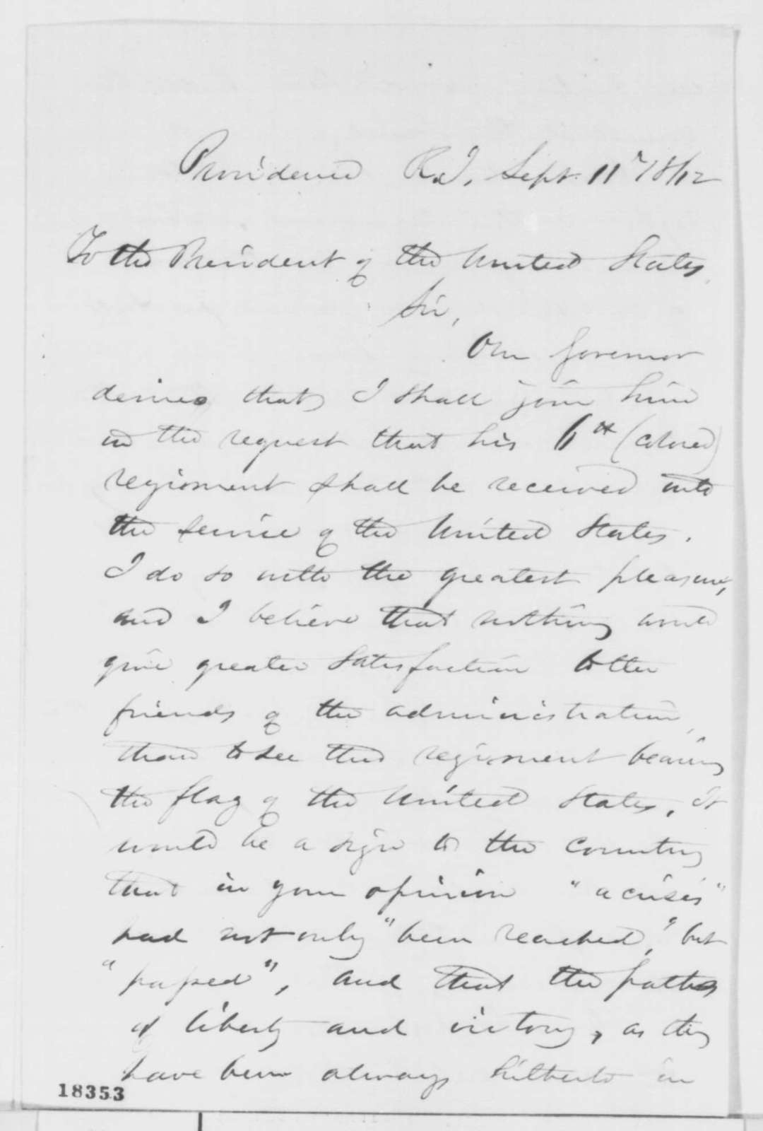 Thomas A. Jenckes to Abraham Lincoln, Thursday, September 11, 1862  (Raising of a black regiment)