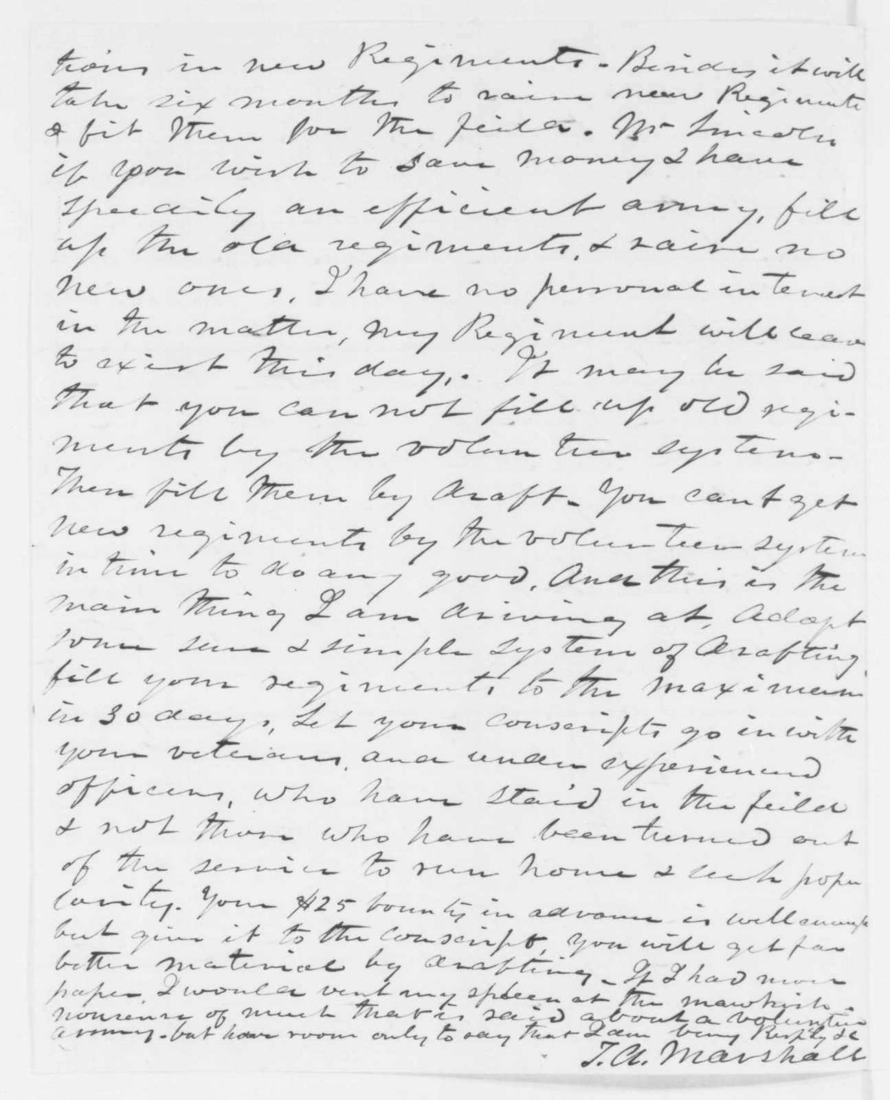 Thomas A. Marshall to Abraham Lincoln, Tuesday, July 15, 1862  (Military affairs)