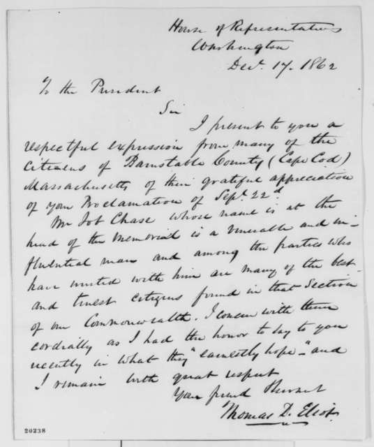 Thomas D. Eliot to Abraham Lincoln, Wednesday, December 17, 1862  (Support for Emancipation Proclamation)