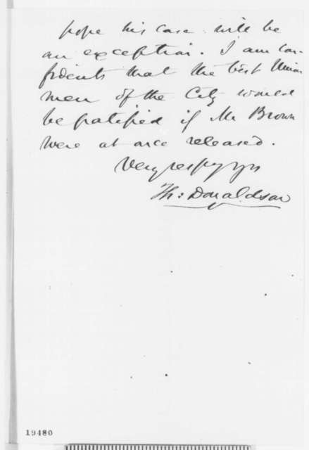 Thomas Donaldson to Montgomery Blair, Monday, November 10, 1862  (Release of political prisoners in Baltimore)
