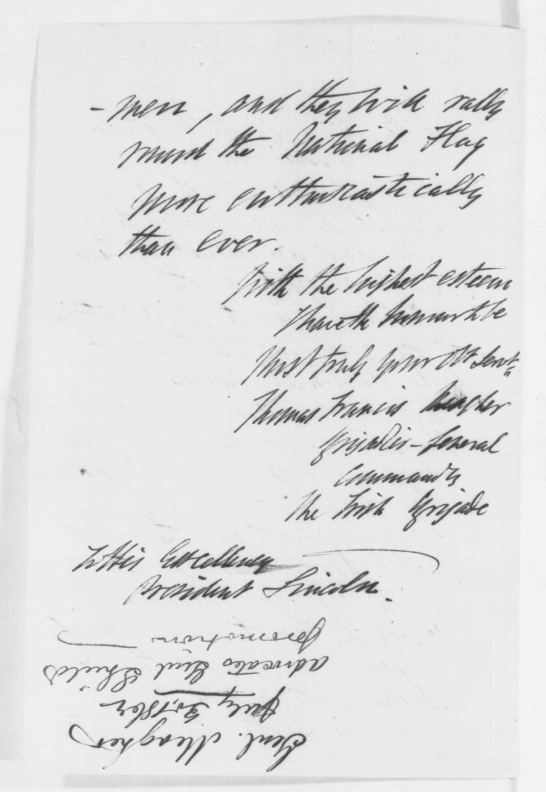 Thomas F. Meagher to Abraham Lincoln, Wednesday, July 30, 1862  (Recruitment for the Irish Brigade)