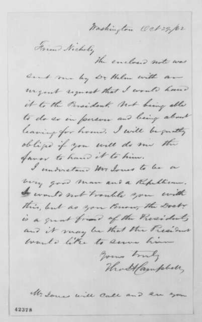 Thomas H. Campbell to John G. Nicolay, Wednesday, October 29, 1862  (Cover letter)