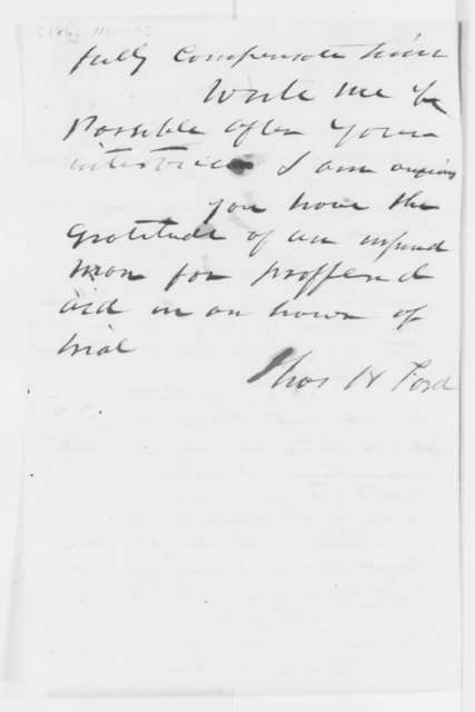 Thomas H. Ford to Cassius M. Clay, Wednesday, November 19, 1862  (Seeks vindication for his conduct)