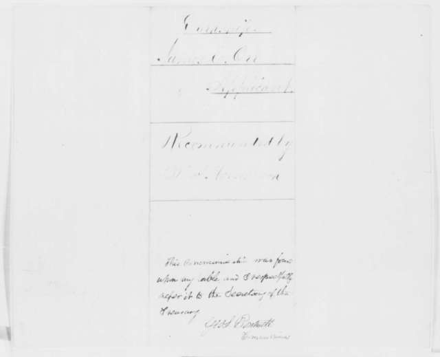 Thomas Hornbrook to Abraham Lincoln, Wednesday, November 26, 1862  (Recommendation; endorsed by George S. Boutwell)