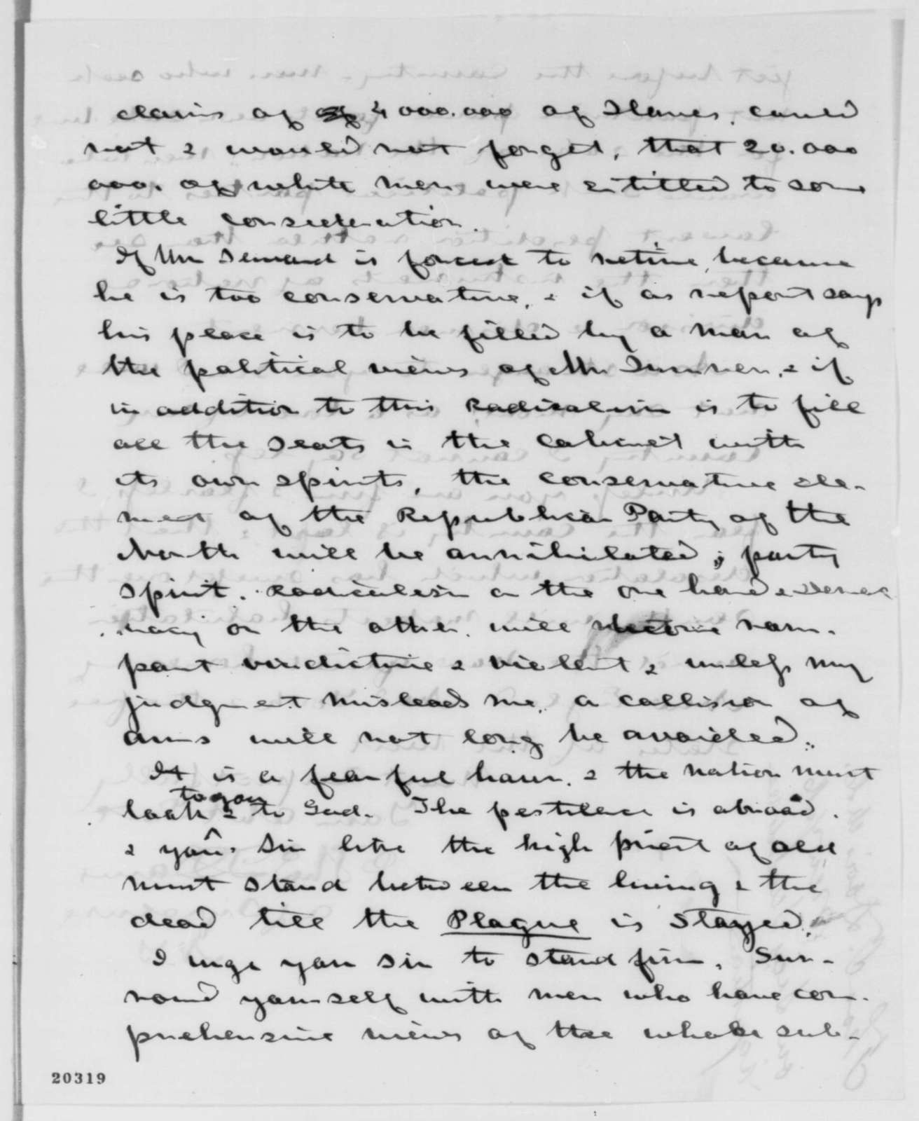 Thomas T. Davis to Abraham Lincoln, Saturday, December 20, 1862  (Seward's resignation)
