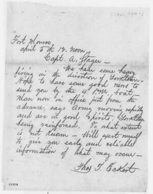 Thomas T. Eckert to Anson Stager, Friday, April 04, 1862  (Telegram regarding military affairs)