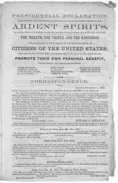 To the army of the United States. Officers and soldiers:- I have been requested to prepare an appeal to the army of the United States, officers and private, in favor of temperance ... Edward C. Delavan. Albany, December 1, 1862.