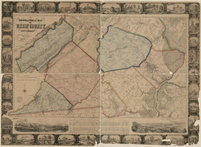 Topographical map of Union County, New Jersey /