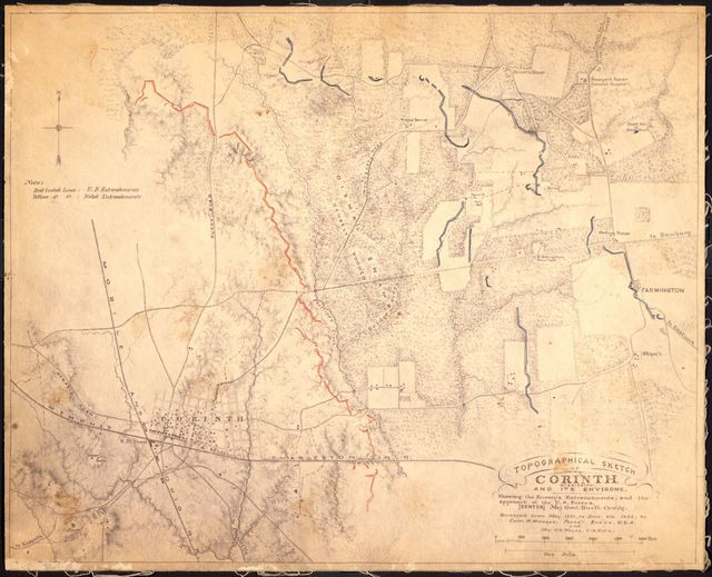 Topographical sketch of Corinth, Mississippi and its environs: showing the enemy's entrenchments, and the approach of the U.S. forces/