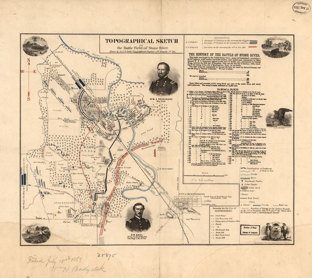 Topographical sketch of the battle field of Stone River. [Dec. 31, 1862]