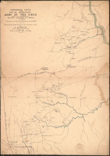 Topographical sketch of the line of operations of the Army of the Ohio under the command of Major General D. C. Buell, U.S. Volunteers : evacuation of Corinth by the enemy, May 30th, 1862 /