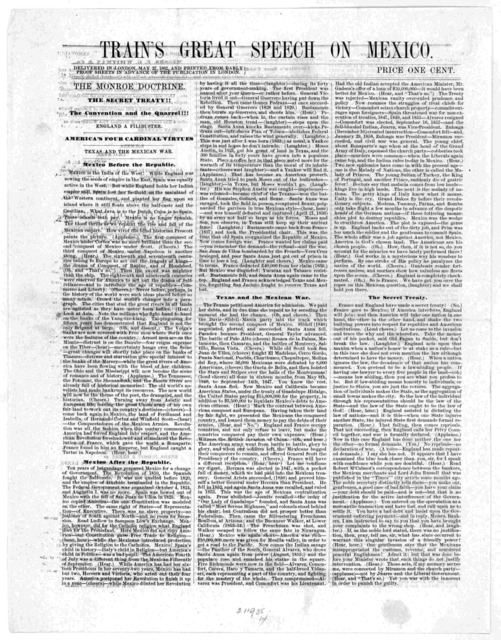 Train's great speech on Mexico. Delivered in London, May 27, 1862, and printed from early proof sheets in advance of the publication in London ... [Philadelphia, 1862].