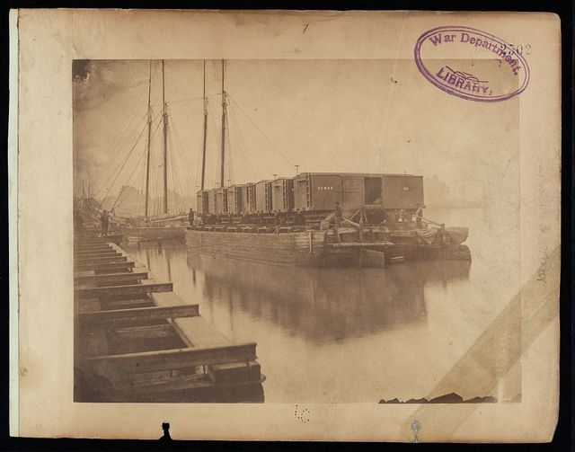 Transportation on the Potomac. Cars loaded at Alexandria can be carried on barges or arks to Aquia Creek, and sent to stations where the Army of the Potomac is supplied, without break of bulk