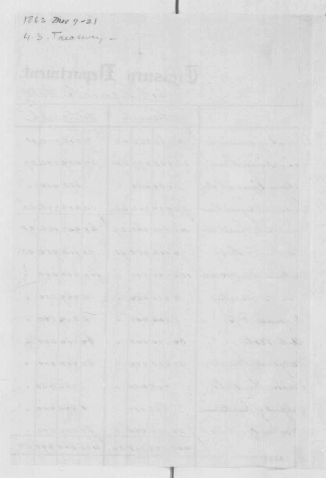Treasury Department, Friday, March 07, 1862  (Financial Statement)