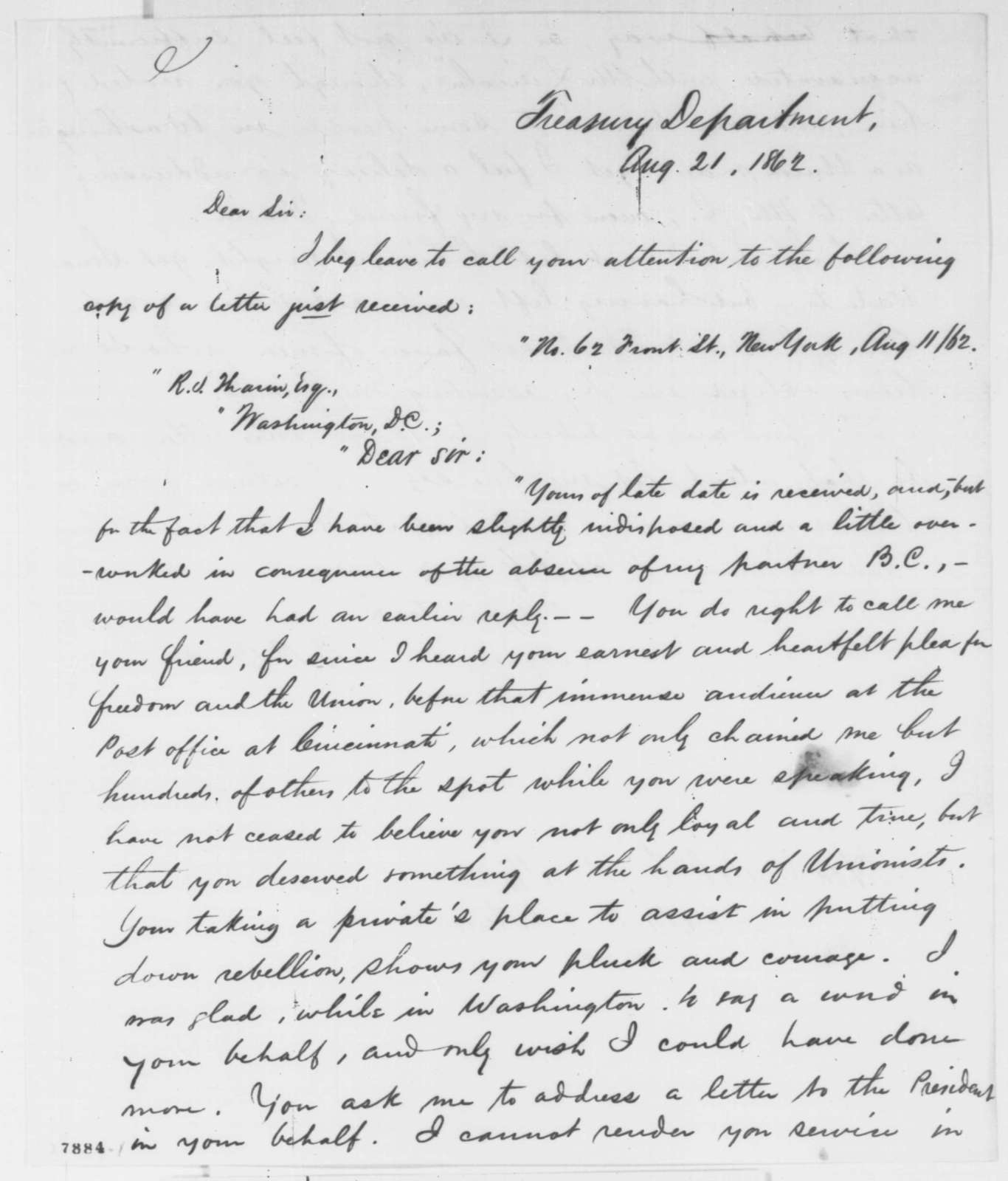 Treasury Department to Caleb B. Smith, Thursday, August 21, 1862  (Copy of letter of recommendation)
