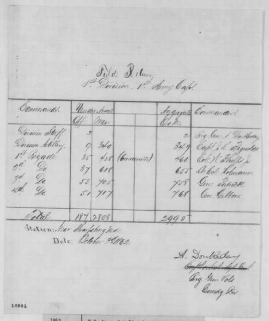 U. S. Army 1st Division (near Sharpsburg), Friday, October 03, 1862  (Report)