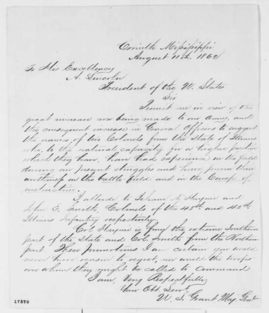 Ulysses S. Grant to Abraham Lincoln, Monday, August 11, 1862  (Recommendations)