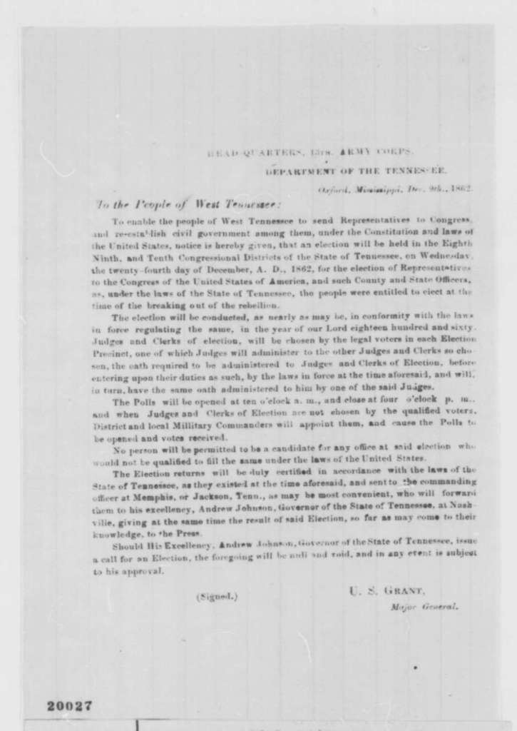 Ulysses S. Grant to Tennessee Citizens, Tuesday, December 09, 1862  (Printed Proclamation)