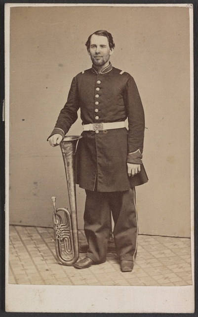 [Unidentified soldier in Union uniform with saxhorn] / Photographed by Thomas Smith, 142 and 144 North Ninth Street, Philadelphia.