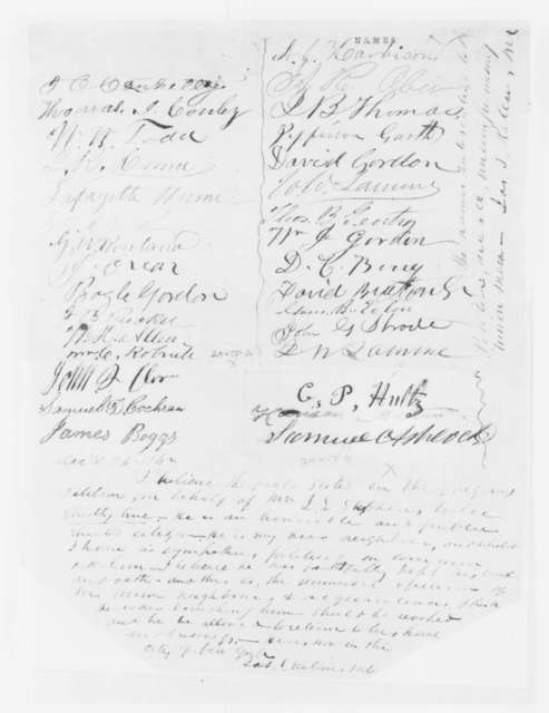 Union Citizens of Boone County Missouri to Abraham Lincoln, Friday, December 26, 1862  (Petitions requesting repeal of order banishing James L. Matthews from the state; endorsed by James S. Rollins)