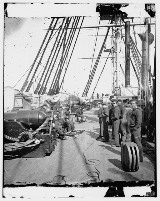 [Union soldiers on deck of U.S.S. New Hampshire, off Charleston, S.C.]