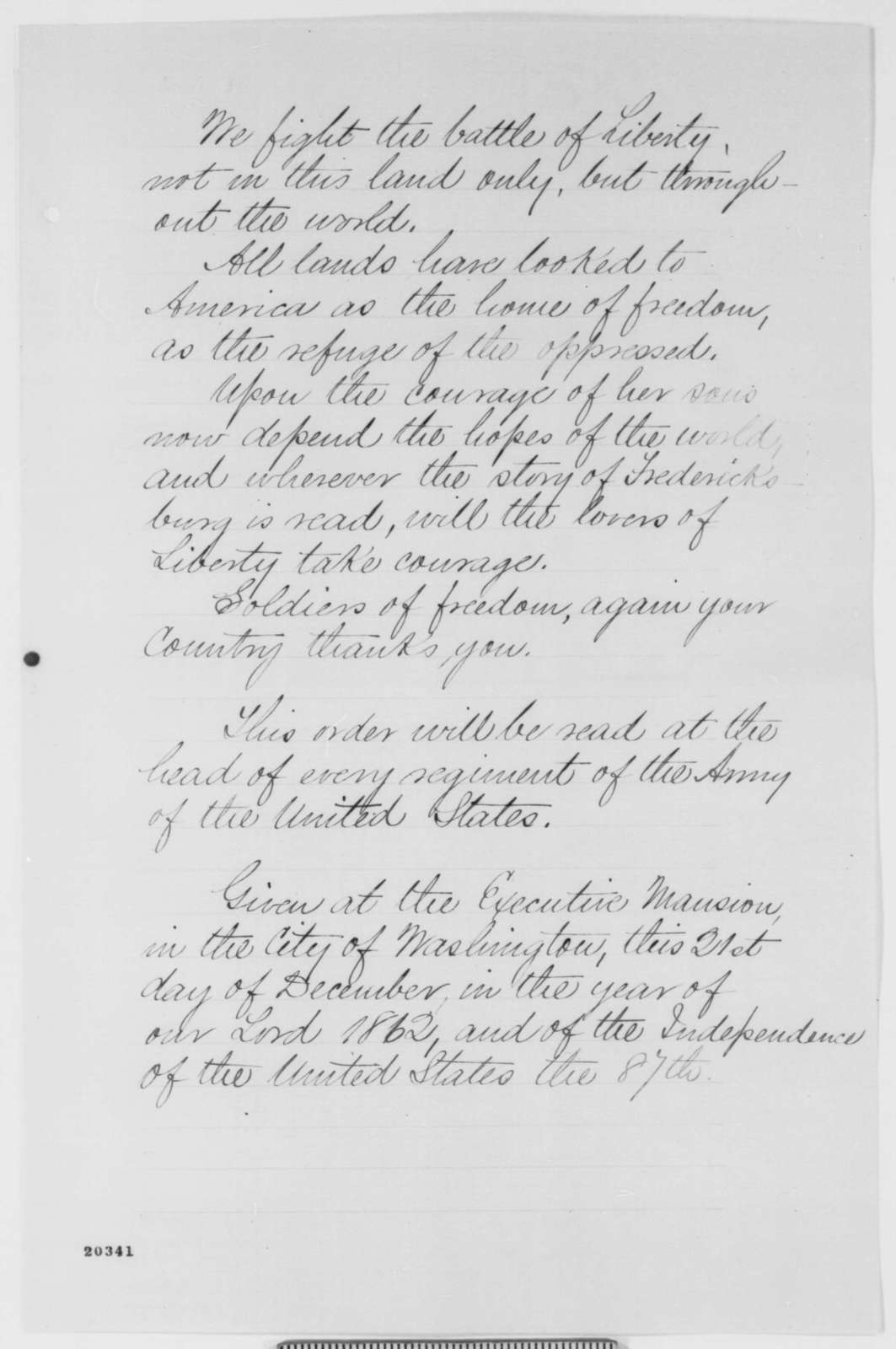 Unknown, Sunday, December 21, 1862  (Proposed Statement to Army of Potomac)