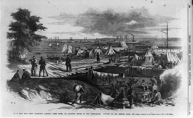 U.S Mail boat dock, Harrison's Landing, James River, Va.--Floating houses of the contrabands erected on the freight boats, etc.